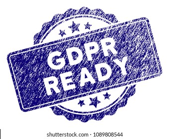 GDPR Ready stamp seal. Vector element with grainy design and scratched texture in blue color. Designed for overlay watermarks and grunge textured rubber seal imitations.