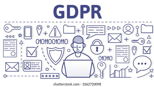 GDPR (RGPD, DSGGVO) concept illustration. General Data Protection Regulation. The protection of personal data. Vector design template of website header, banner or poster.
