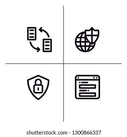 GDPR security lineal icon set EPS 10 vector format. Transparent background.