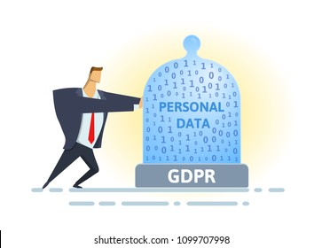 GDPR standard and compliance. Personal data security. Man moving glass dome with personal data and GDPR letters. Flat vector illustration. Isolated on white background.