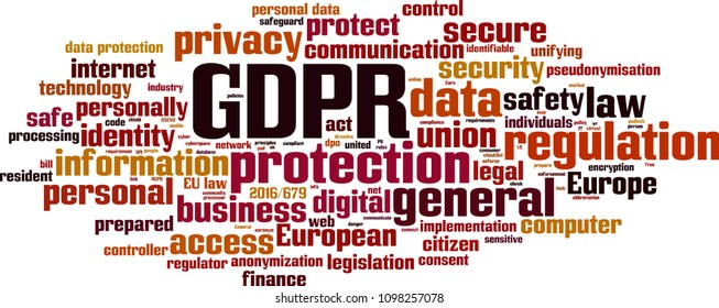 GDPR word cloud concept. Vector illustration