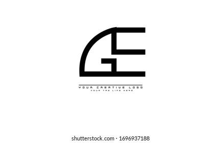 GE EG abstract vector logo monogram template