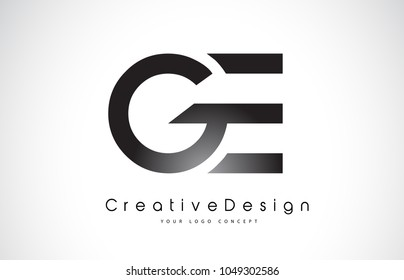 GE G E Letter Logo Design in Black Colors. Creative Modern Letters Vector Icon Logo Illustration.