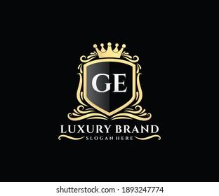 GE Initial Letter Gold calligraphic feminine floral hand drawn heraldic monogram antique vintage style luxury logo design.