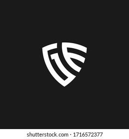 GE monogram logo with shield shape design template