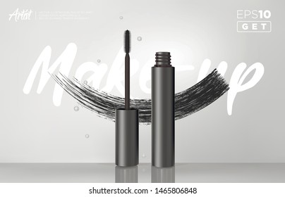 Gealistic vector black Mascara Bottle. Brush and mascara tube. Black wand and mascara tube. Fashionable cosmetics Makeup design for Eyes.