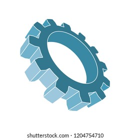 Gear 3D symbol. Minimal abstract logo template. Precision machinery relative