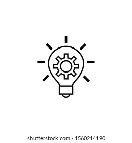 gear in bulb solution idea icon line style illustration