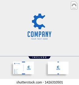 gear c logo engineering factory vector icon isolated