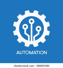 Gear with chip. Flat design style. White symbol on a blue background. White symbol on a blue background. The concept of automatic process. The file is saved in the version AI10 EPS.