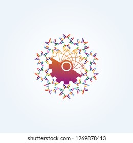 gear with Circuit icon templates , vector logo technology for business corporate , elements , illustration
