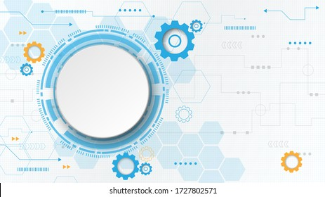 Gear circuit technology background with hi-tech digital data connection system and computer electronic