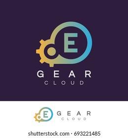 gear cloud initial Letter E Logo design