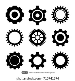Gear or cog icon on a white background.Gears vector set. Eps 10 vector file.