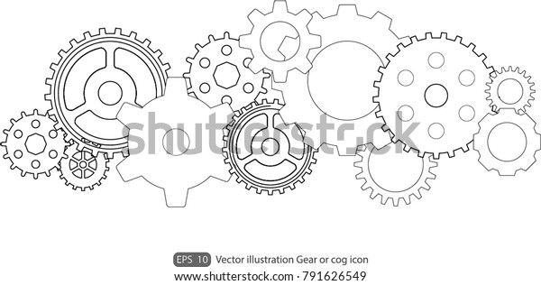 Gear Cog Icon On White Backgroundgears Stock Vector (Royalty