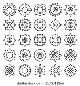 gear and cog icons set, line design