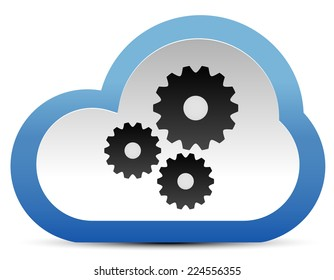 Gear, cogwheel composition in cloud. Maintance, development. Cloud technology. Vector icon.