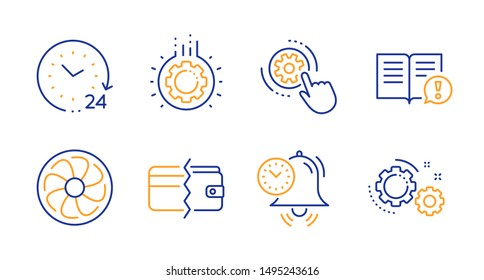Gear, Cogwheel settings and Facts line icons set. 24 hours, Payment methods and Time management signs. Fan engine, Gears symbols. Work process, Engineering tool. Business set. Line gear icon. Vector
