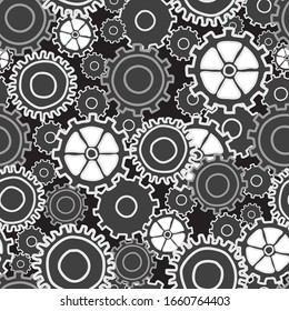Gear Collage many sizes and styles of gears in neutral black white and grays, seamless repeat vector surface pattern design