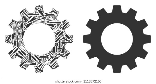 Gear collage of service instruments. Vector gear icon is shaped from cogwheels, hammers and other mechanical items. Concept of technician service.