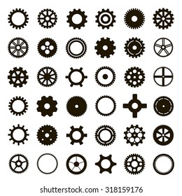 Gear collection black machine gear on a white background: wheel cogwheel vector, set of gear wheels, collection of vector gear
