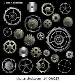 Gear collection machine collection of vector cogwheel and gears