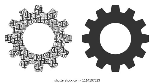 Gear composition icon of zero and null digits in randomized sizes. Vector digit symbols are combined into gear mosaic design concept.