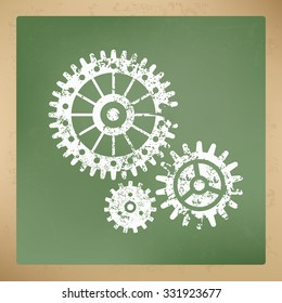 Gear design on old paper background, vector