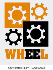Gear design over white background, vector illustration
