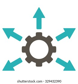 Gear Distribution vector icon. Style is bicolor flat symbol, grey and cyan colors, rounded angles, white background.