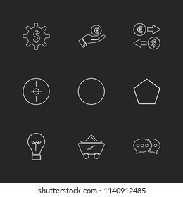 gear  dollar  circle  target   idea  shapes  electronic  time  ecology  icon vector design  flat  collection style creative  icons  traingle  square  hexagon  pentagon  battery  electricity