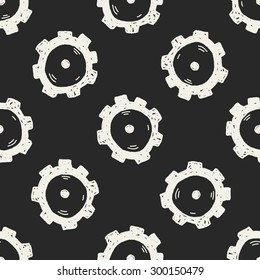 gear doodle seamless pattern background