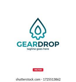 Gear Drop Vector Tech Logo