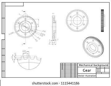 Gear. Engineering drawing. Modern mechanics blueprints. Vector technology background. White modern wallpapers
