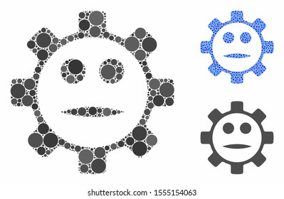 Gear face neutral smiley mosaic of circle elements in various sizes and color tones, based on gear face neutral smiley icon. Vector circle elements are grouped into blue mosaic.