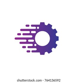 Gear fast logo template vector design with gear and speed symbol