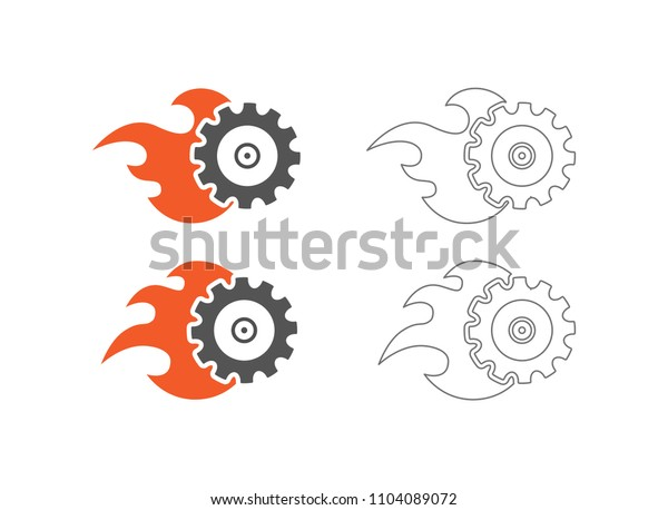 gear with flame logo outline icon