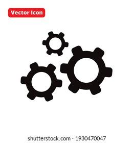 gear flat vector design black