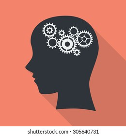 Gear in head. brain work vector illustration.