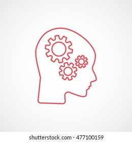 Gear In Head SEO Red Line Icon On White Background