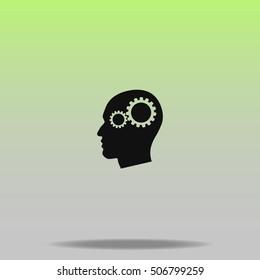 Gear in head vector icon