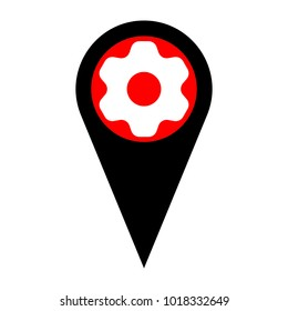 Gear icon. Asterix. Vector. Flat white icon in red circle at black marker on white background. Isolated.