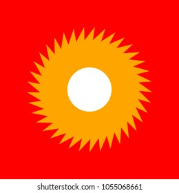 Gear icon. Asterix. Vector. Orange icon with white holes if exist at red background. Isolated.