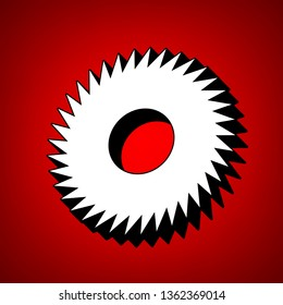 Gear icon. Asterix. Vector. Perspective view of white icon with black outline at reddish background.