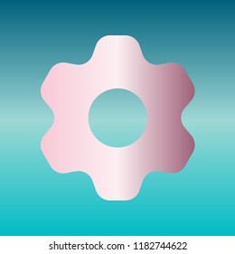 Gear icon. Asterix. Vector. Pink bronze gradient icon at turquoise gradient background.