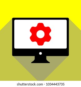 Gear icon. Asterix. Vector. Red icon on white monitor of black all-in-one desktop computer with two shadows at yellow background.