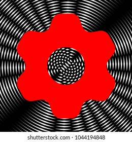 Gear icon. Asterix. Vector. Red icon on white and black radial interference as background.