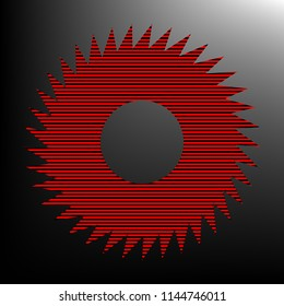Gear icon. Asterix. Vector. Striped red and black icon at gradient blackish background. Zebra.