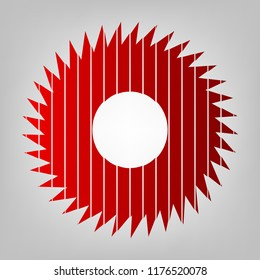 Gear icon. Asterix. Vector. Vertically divided icon with colors from reddish gradient in gray background with light in center.
