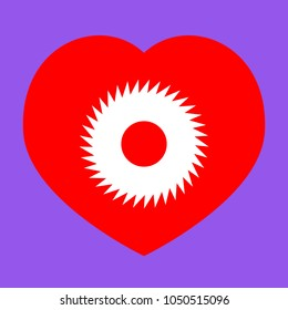 Gear icon. Asterix. Vector. White icon in red heart at lavender background.